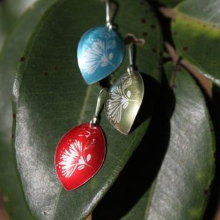 Pohutukawa and Rose Earrings