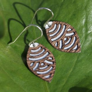 Oval Laser Cut Wood Veneer Earrings