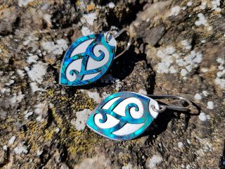 Paua Veneer Earrings