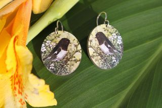 Soulmate NZ Bird & Flowers Large Oval Earrings